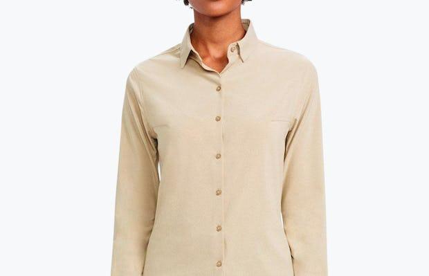 Women's Camel Easier than Silk Shirt on Model Facing Forward