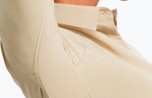 Women's Camel Easier than Silk Shirt on Model in Close-Up of Arm Raised to Show Stretch