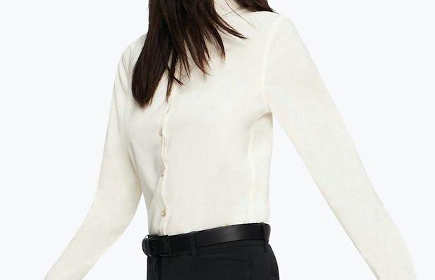Women's Ivory Easier than Silk Shirt on Model Walking Right