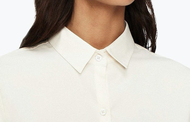 Women's Ivory Easier than Silk Shirt on Model in Close-Up of Buttoned Collar