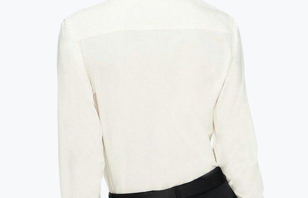 Women's Ivory Easier than Silk Shirt on Model Facing Backward