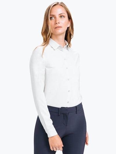 Women's Pale Grey Easier than Silk Shirt on Model Walking Forward