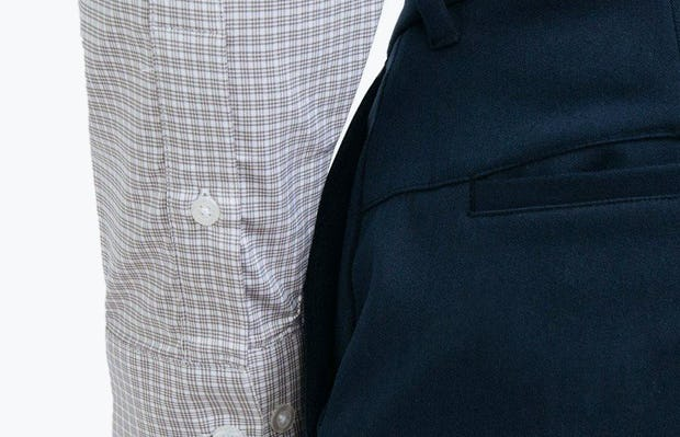 Men's Grey Quad Grid Aero Button Down on Model in Close-Up of Sleeve Cuffs and Buttons