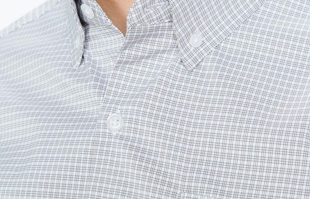 Men's Grey Quad Grid Aero Button Down on Model in Close-Up of Button-Down Collar