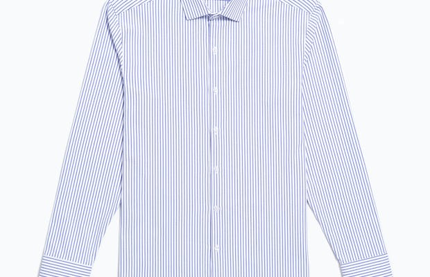 Men's Blue Stripe Aero Zero Dress Shirt flat front shot