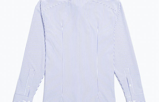 Men's Blue Stripe Aero Zero Dress Shirt flat back shot