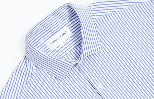 Men's Blue Stripe Aero Zero Dress Shirt zoomed shot of collar