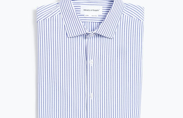 Men's Blue Stripe Aero Zero Dress Shirt flat folded shot