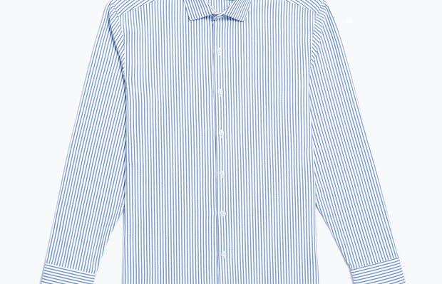Men's Navy Stripe Aero Zero Dress Shirt flat shot of front