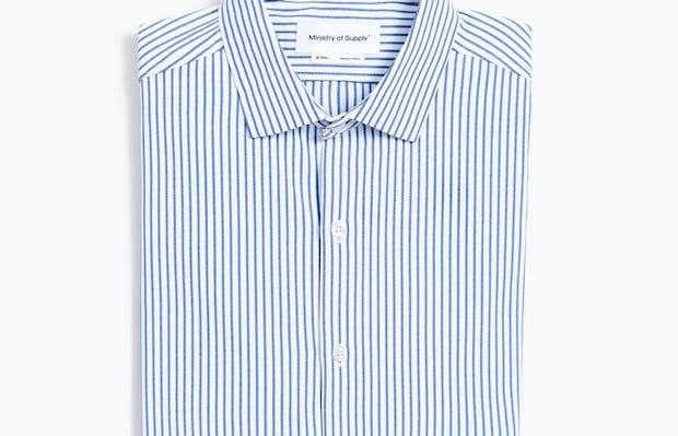 Men's Navy Stripe Aero Zero Dress Shirt flat and folded