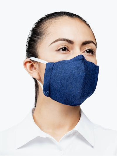 Navy 3D Print-Knit Mask° on Model Looking Left