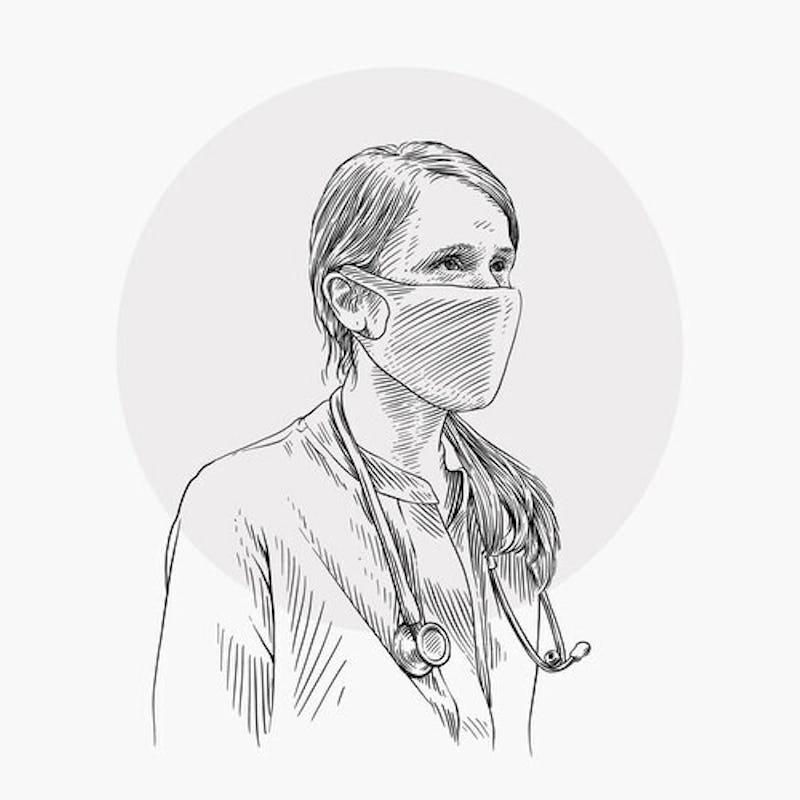 Illustration of Nurse wearing 3D Print-Knit Maskº