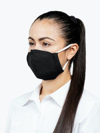 Black 3D Print-Knit Mask° on Model Looking Left