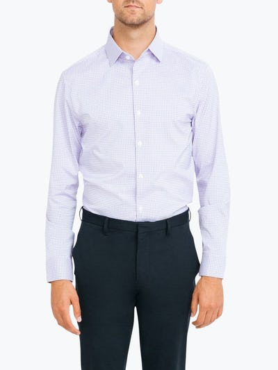 Men's Lavender Outline Check Aero Dress Shirt on Model Facing Forward