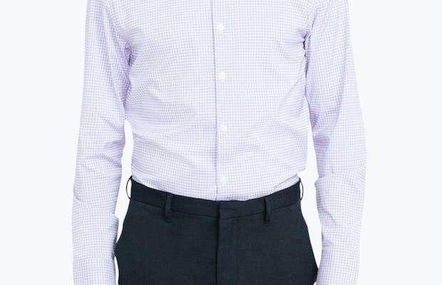 Men's Lavender Outline Check Aero Dress Shirt on Model Facing Forward