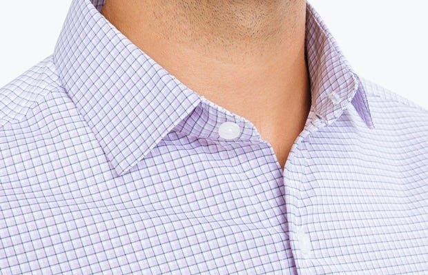 Men's Lavender Outline Check Aero Dress Shirt on Model in Close-Up of Unbuttoned Collar