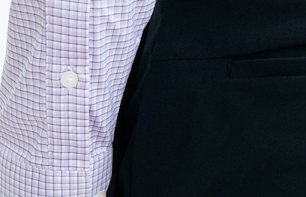 Men's Lavender Outline Check Aero Dress Shirt on Model Facing Backward in Close-Up of Buttoned Sleeve Cuffs