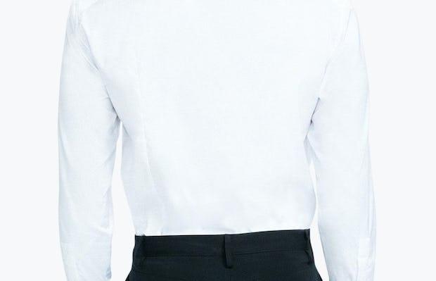 Men's White Nylon Aero Dress Shirt on Model Facing Backward