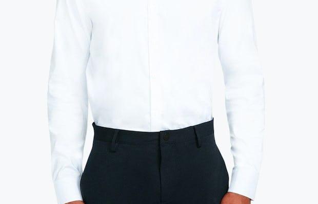 Men's White Nylon Aero Dress Shirt on Model Facing Forward