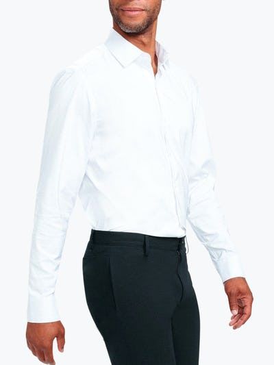 Men's White Nylon Aero Dress Shirt on Model Walking Right