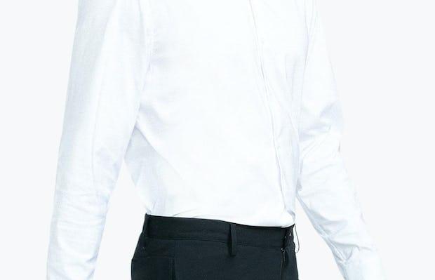 Men's White Nylon Aero Dress Shirt on Model Walking Right