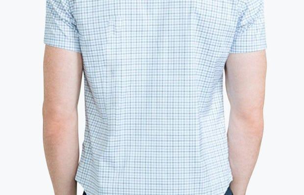 Men's Blue Tattersall Aero Dress Shirt on Model Facing Backward