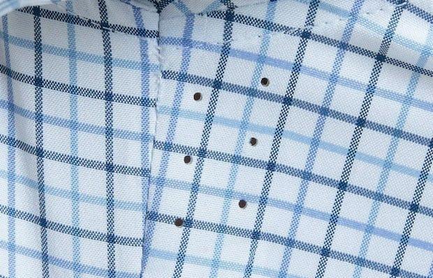 Men's Blue Tattersall Aero Dress Shirt on Model in Close-Up of Underarm Ventilation