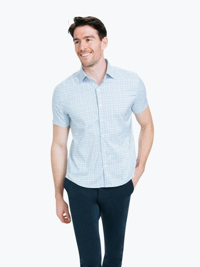 Men's Blue Tattersall Aero Dress Shirt on Model Walking Forward