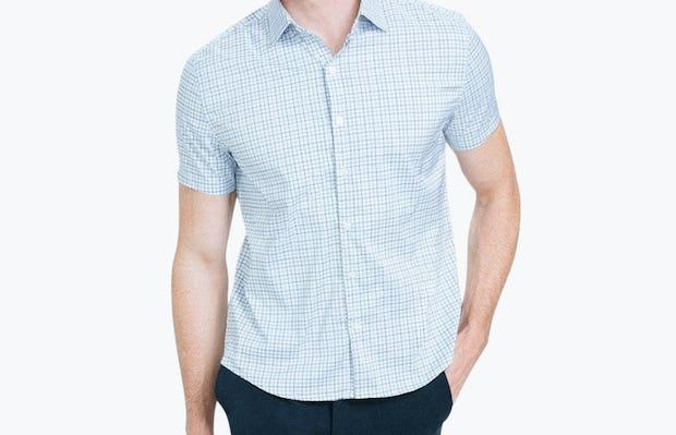 Men's Blue Tattersall Aero Dress Shirt on Model Walking Forward