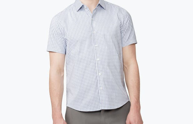 Men's Navy Plaid Aero Short Sleeve Dress Shirt on Model Facing Forward