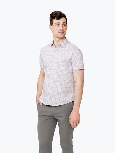 Men's Carmine and Indigo Tattersall Short Sleeve Dress Shirt on Model Walking Left