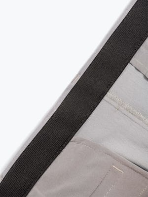 Men's Light Grey Momentum Chino Shorts in Close-Up of Inside of Stretch Waistband