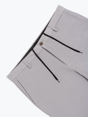 Men's Light Grey Momentum Chino Shorts in Close-Up of Adjustable Tie in Waistband