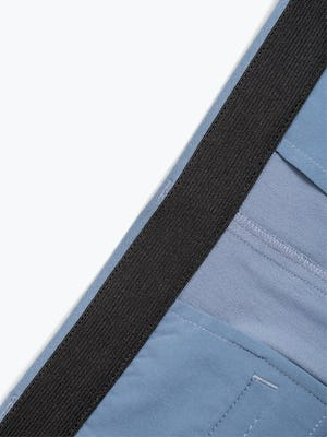 Men's Slate Blue Momentum Chino Shorts Front View in Close-Up of Inside of Stretch Waistband