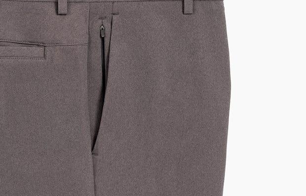 Grey Men's Kinetic Shorts close up of pocket zipper detail