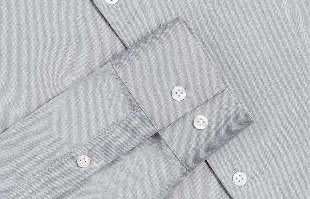 Men's Grey Oxford Brushed Recycled Apollo Dress Shirt in Close-Up of Buttoned Cuffs