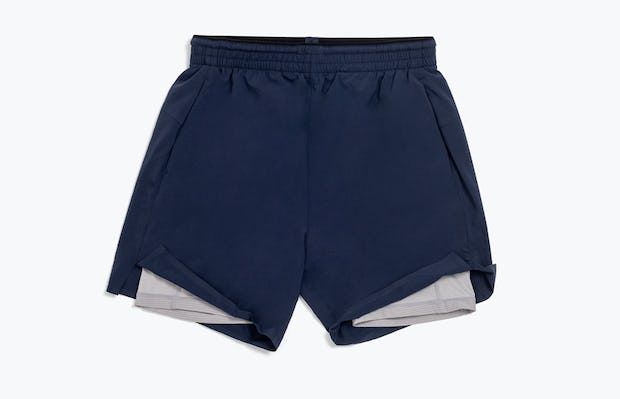 Men's Navy Newton Active Shorts Front View Exposing Compression Liner