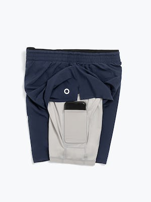 Men's Navy Newton Active Shorts with Phone in Compression Liner Pocket