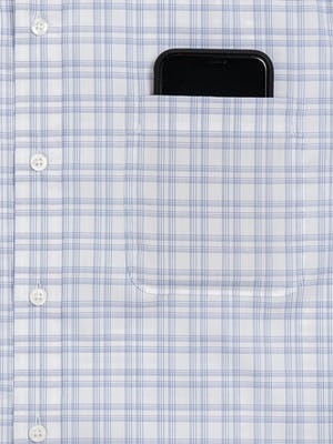 Men's Aero Button Down in Blue Dot Matrix zoomed shot of chest pocket and phone
