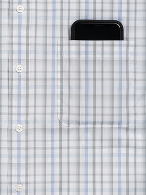 Men's Aero Button Down in Grey Blue Plaid zoomed shot of chest pocket and phone