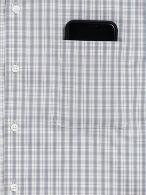 Men's Aero Button Down in Blue Grey Tattersall zoomed shot of chest pocket with phone