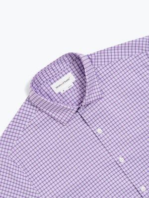 men's lavender quad grid aero dress shirt zoomed shot of front
