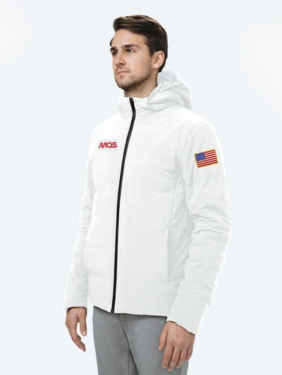 Men's Whit Mercury Intelligent Heated Jacket on Model Facing Right