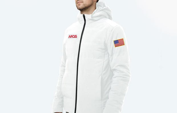 Men's Whit Mercury Intelligent Heated Jacket on Model Facing Right