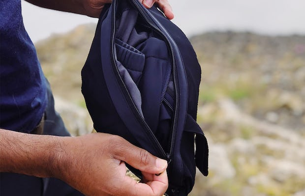 Men's Navy Doppler Packable Jacket Packed into Bag