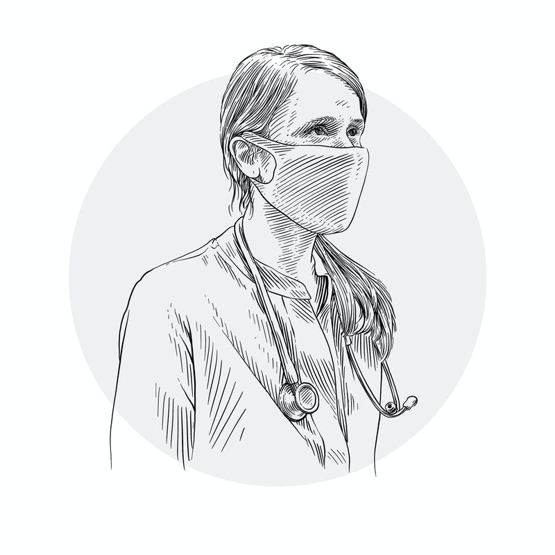 Animated Woman in Facemask