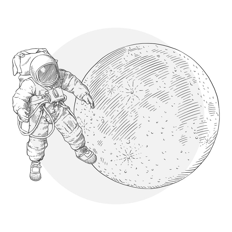 Spacesuit and moon
