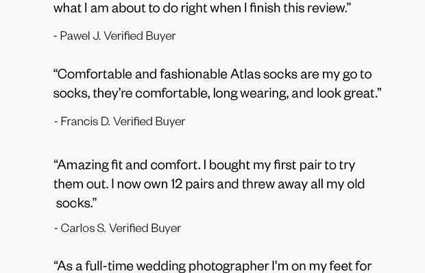 Reviews of the Atlas Dress Socks