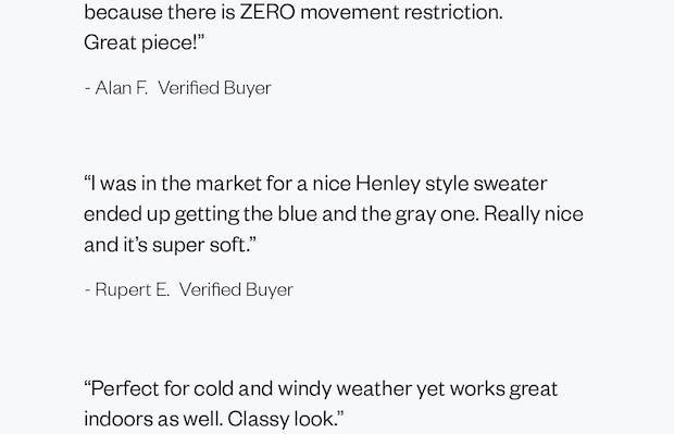 Reviews of the Men's Atlas Merino Quarter Button