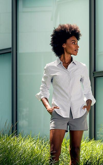 Woman wearing Momentum Chino shorts